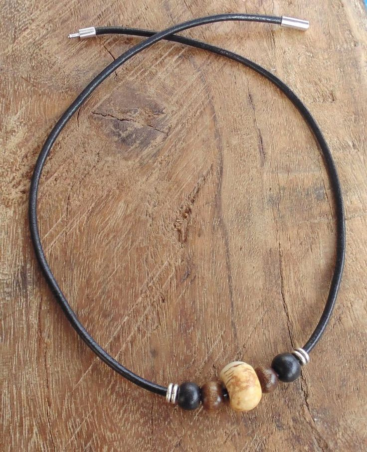 Mens Leather Necklace Black Cord Picture Jasper Wood Beads Handmade Surfer Gift #Handmade #Surfer