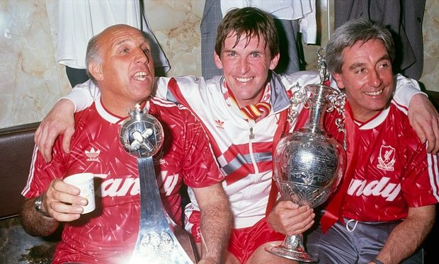 Kenny Dalglish with Ronnie Moran and Roy Evans after winning the league in 1990.