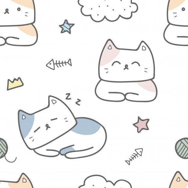 Cute Cat Cartoon Doodle Pastel Seamless Pattern Wallpaper Cat Doodle Cat Sketch Cartoon Cat