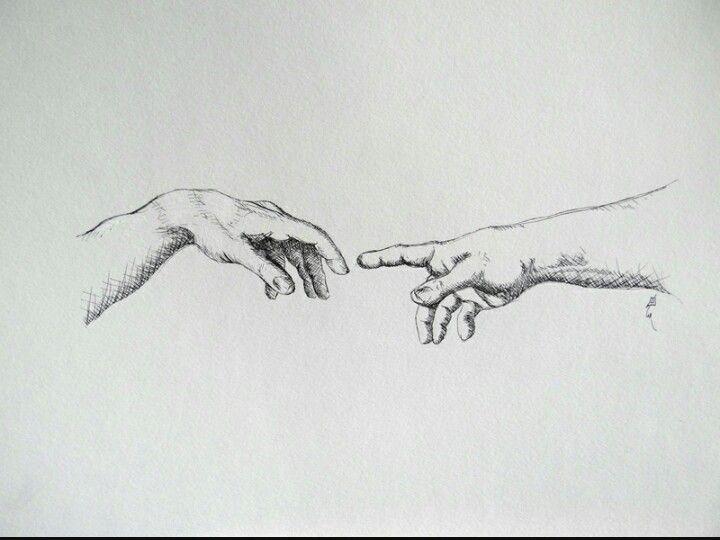 Для открыток, рисунок две руки тянутся друг к другу