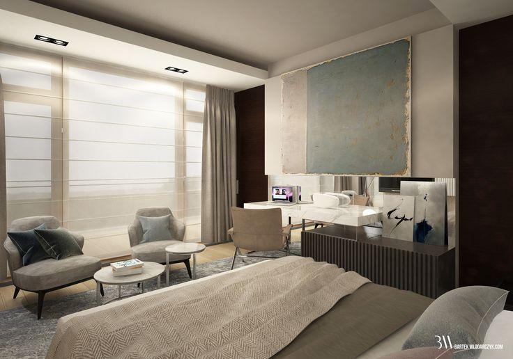 Projekt sypialni w odcieniach beży i szarości z łóżkiem firmy Restoration Hardware, fotelami Leslie firmy Minotti i lampą Fork firmy Diesel oraz biokominkiem