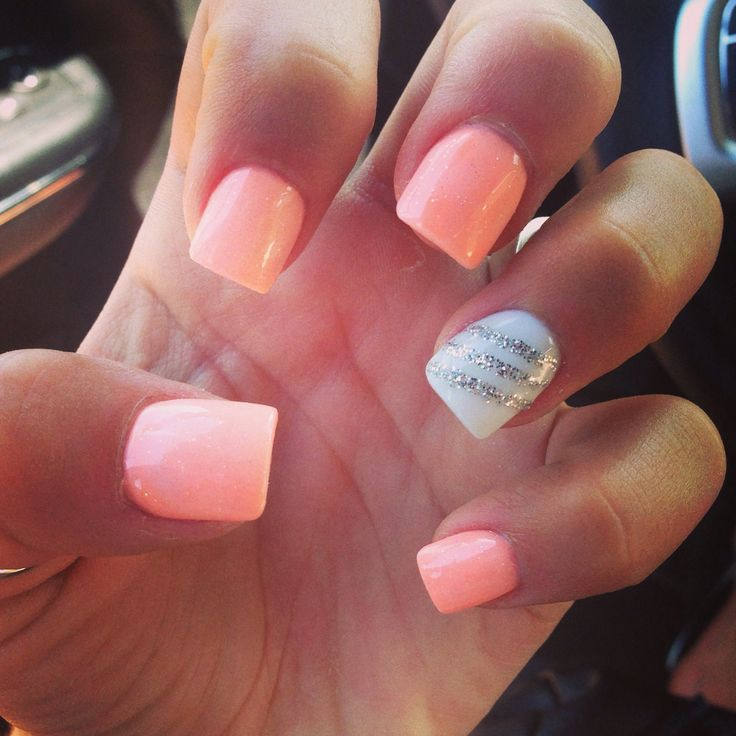Summer manicure- pink nails with a white accent design nail. - 126 Best Nail Designs Images On Pinterest Nail Design, Nail Art