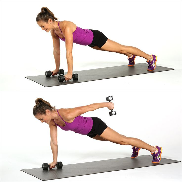 Work your arms and abs together with this plank variation.   Start in a plank position holding a dumbbell in each hand. Open your feet wider than hip width for a stronger base of support. Lift your left arm behind you as high as you can. Bring the left arm back into plank to complete one rep.  Do 10 to 15 reps with each arm.  Use five- to 10-pound weights.