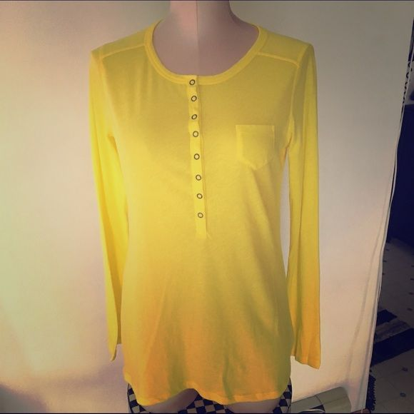 NWOT Yellow long sleeve top NEW! Never been worn! So super soft. Thin material, great on its own or for layering. Snaps down part of the front, small pocket on chest. GAP Tops Tees - Long Sleeve