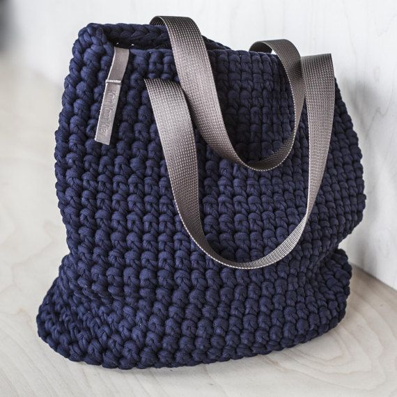 Everyday Tote Bag/ Crochet Shoulder Bag/ Everyday Woman's Bag/ Shopper Bag/ Tote Bag/ Everyday Bag Tote/ Navy Tote/ Crochet Tote Recycled