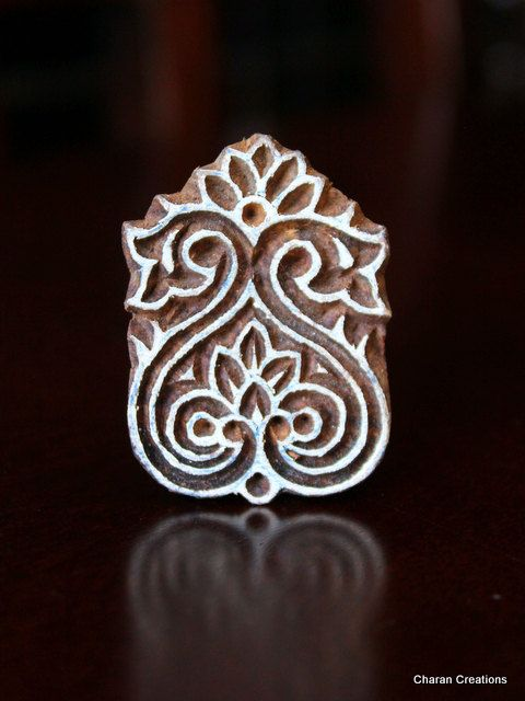 Hand Carved Indian Wood Textile Stamp Block- Floral Motif. $11.00, via Etsy.
