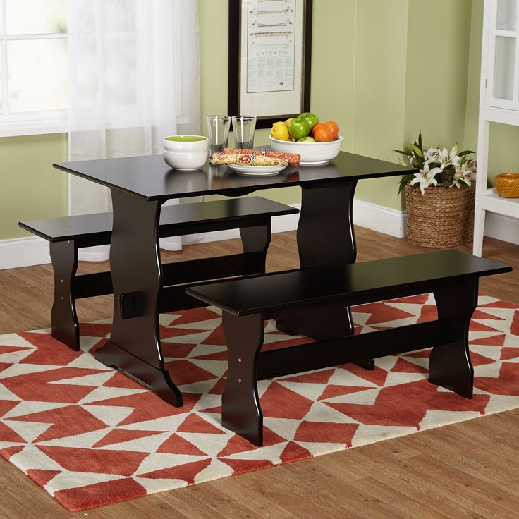 Simple Living Leah Black 3 Piece Dining Table Set By Simple Living