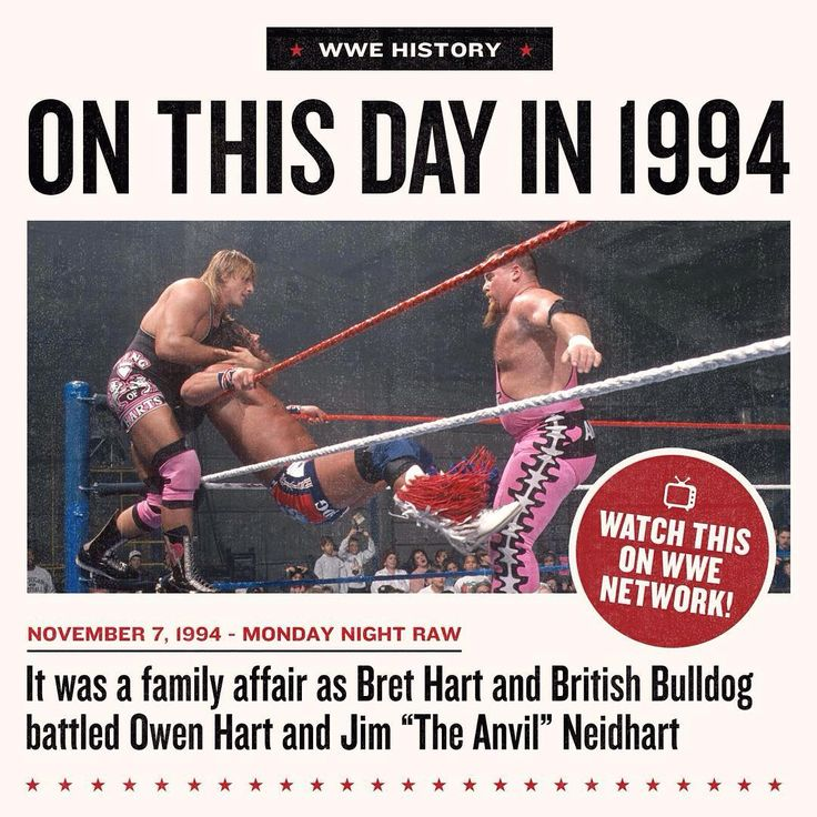 """Family drama came to the forefront, as @brethitmanhart and #BritishBulldog battled #OwenHart and Jim """"The Anvil"""" Neidhart on #RAW on this day in 1994! See which team prevailed on #WWENetwork!"""
