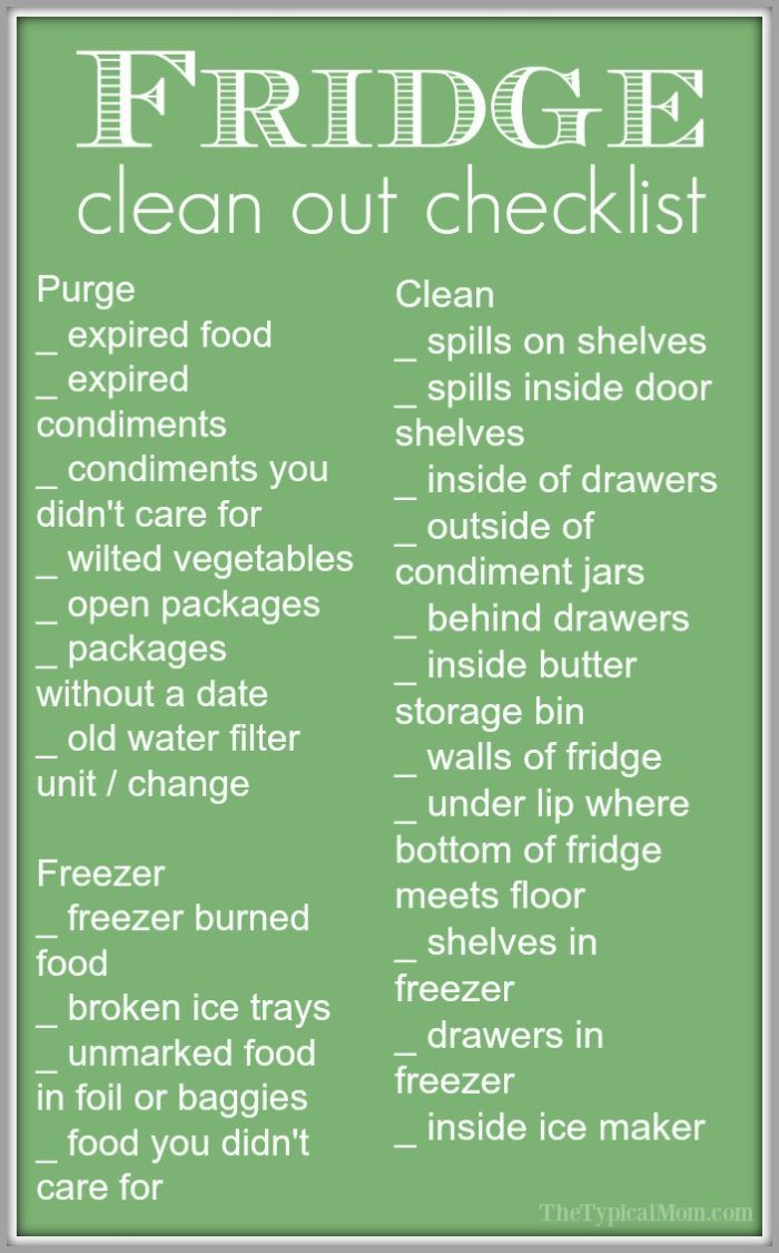 Free refrigerator clean out checklist and printable to help keep you on task! Tips on cleaning your refrigerator and freezer quickly while you purge.  ad