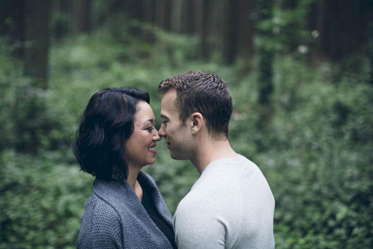 Close up portrait of engaged couple // Love // Happy // Green // Smiles // Outdoors // Muskoka Wedding Photographer ©Eleanor Dobbins Photography
