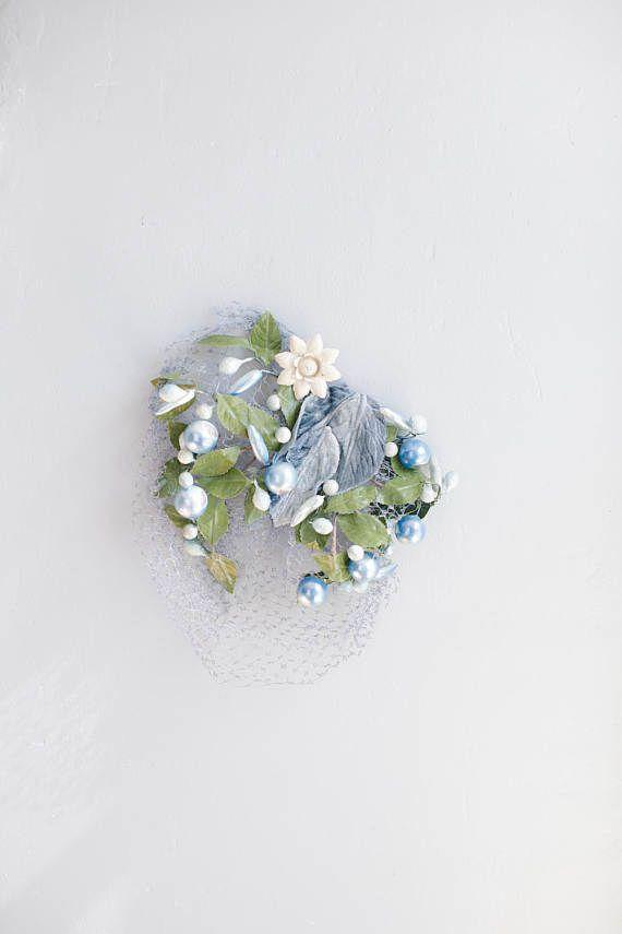 Blue Floral Birdcage Hat  Blue Veil Blue Wedding hair
