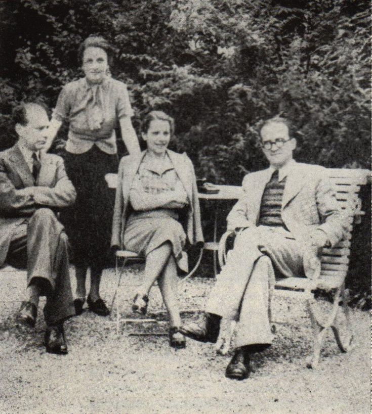Lucian Blaga & Mircea Eliade (wives: Cornelia Good and Nina Eliade). Switzerland 1937