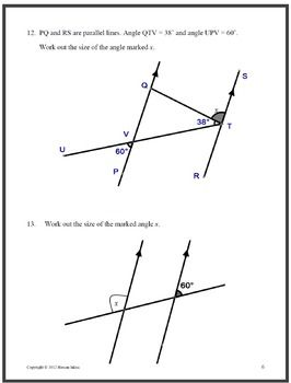 Geometry Angles associated with parallel lines, polygons