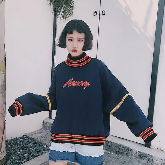 Women Hoodies Sweatshirts 2018 Autumn Korean Style Ulzzang Harajuku Letter Printed Fleece Turtleneck Hoody Sweatshirt Female Top