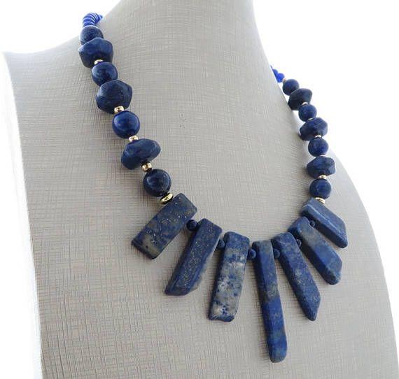 Blu collane pietre dure collana di lapislazzuli grosso