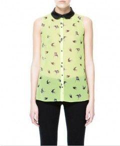 Birds Print Sleeveless Chiffon Blouse With Peter Pan Collar