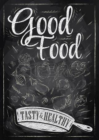 Плакат хорошая еда с сковороде, в которых продукты покупать стилизованный рисунок мелом на доске Иллюстрация