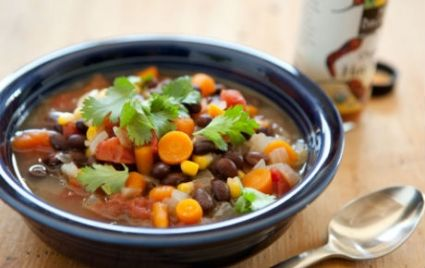 Make this veggie-filled black bean soup as zippy as you like with the addition of hot sauce to taste. Serve with a big green salad and whole grain tortillas for an easy meal.