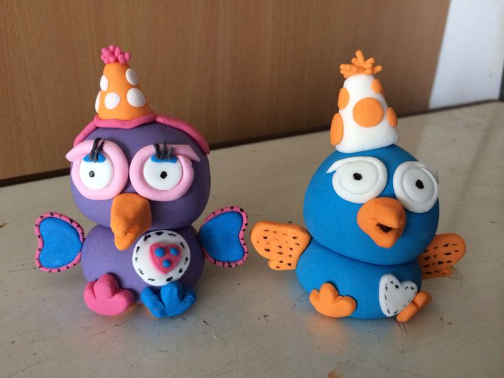 Hoot and Hootabelle fondant figures (Giggle and Hoot)