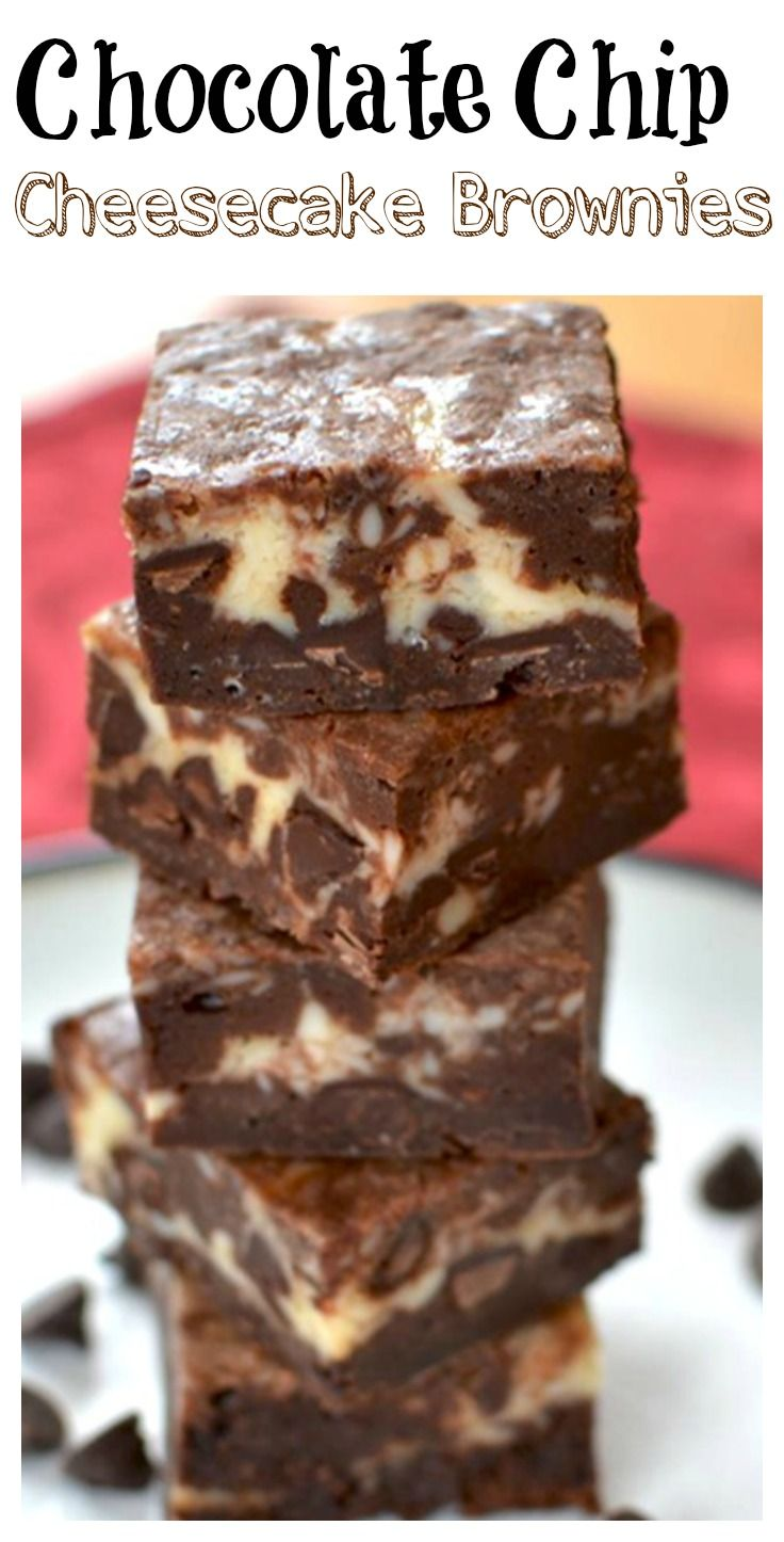 Easy to make Brownies (from scratch!) with delectable chocolate chips and swirls of savory cheesecake.