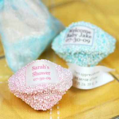 Celebrate and share your good fortune with these personalized fortune cookies. With countless sprinkles and personalization options, the possibilities are endless.   Simply choose your sprinkle colors to begin customizing this favor. Each fortune cookie comes individually wrapped in a cello bag. #timelesstreasure