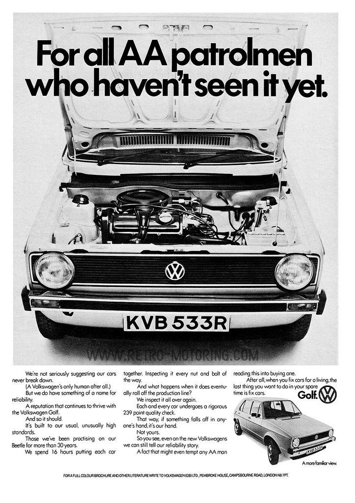 Volkswagen Golf Mk1 Advert For All Aa Patrolmen Who Haven T