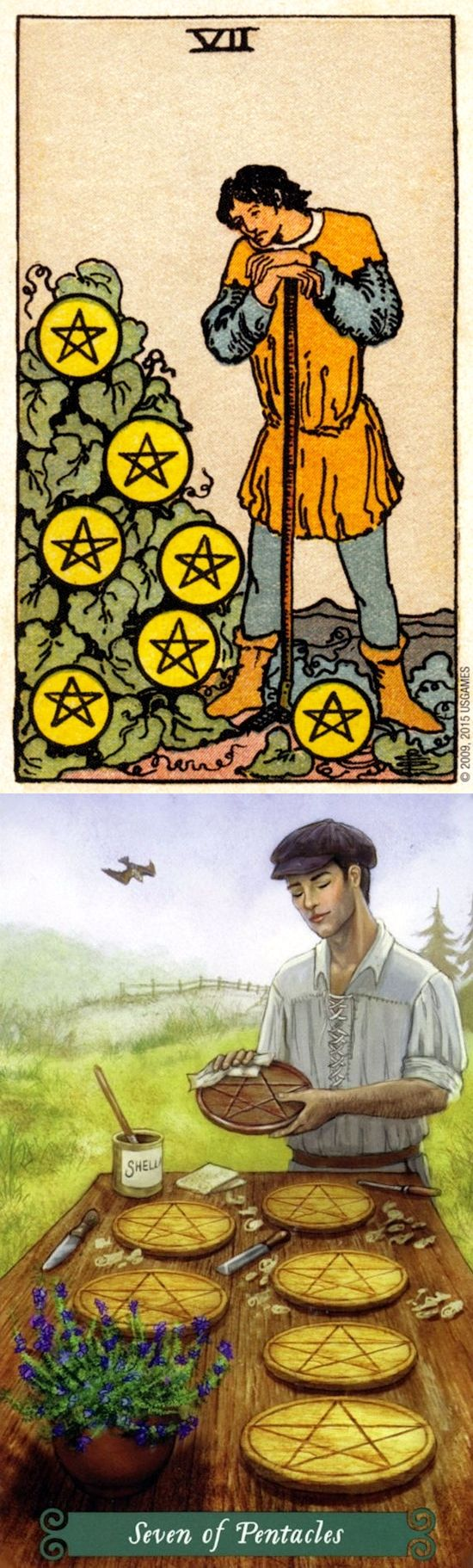 Seven of Pentacles: perseverance and work without adequate rewards (reverse). Rider Centenial Tarot deck and Green Witch Tarot deck: best free tarot reading online, free dark tarot and free tarot reading uk. New ritual sacrifice and tarot spreads layout.