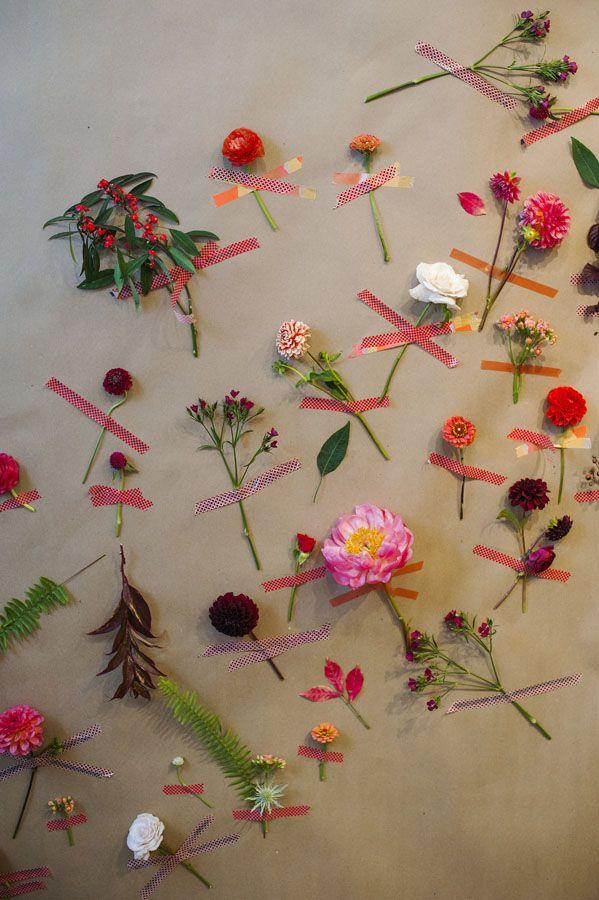 DIY washi tape flower wall