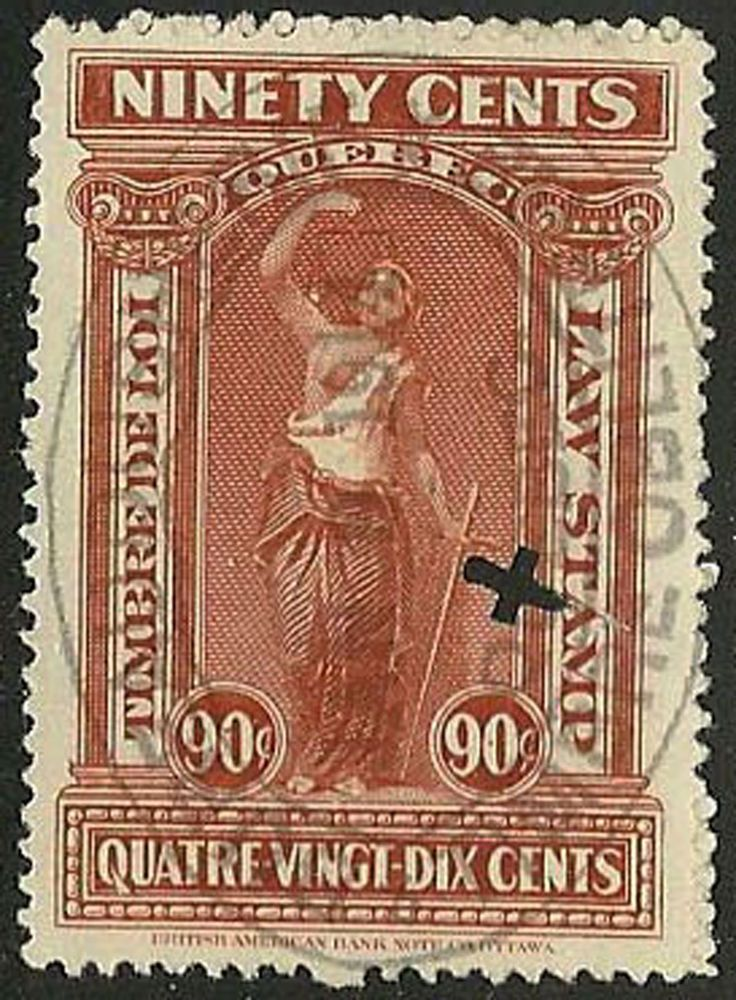 Issue de la troisième série de timbres de loi du Québec en 1912. Ici le 90 cents #QL64, une certaine rareté.