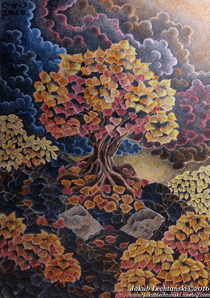 """Rysunek """"Jesienne Drzewo"""" 2016. One of my best and favourite drawings. Colorful autumn tree and dark clouded sky."""