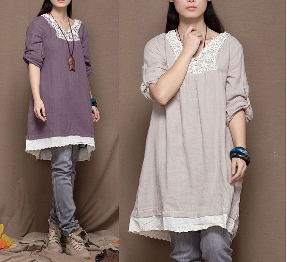 Fashion Women Purple/Cream Dress Cotton Linen Dress Maxi Dress Rolled Up Sleeve Comfortable Dress Loose Fit Leisure  Lace Side Hem Dress