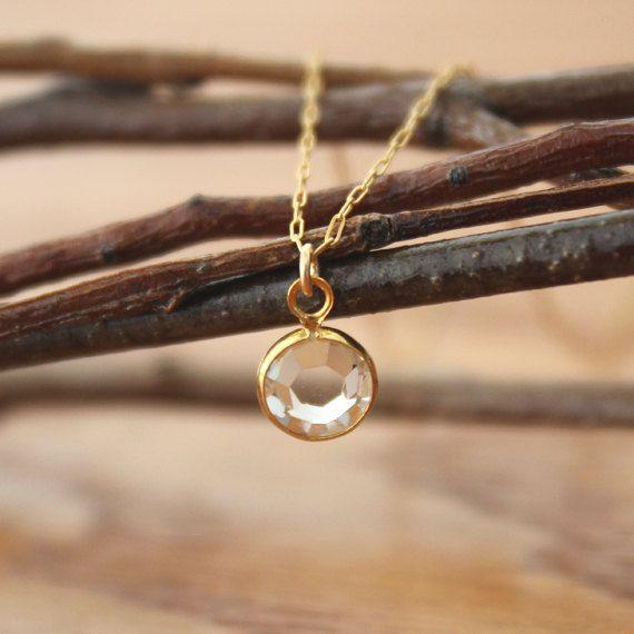 Clear Crystal Gold Necklace Diamond Sun Moon Venus Star