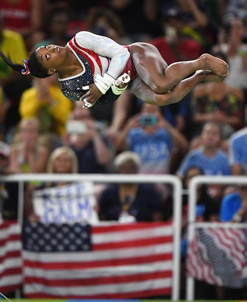 #RIO2016 US gymnast Simone Biles competes on the bars on Tuesday Aug 9 at the Rio Olympic Games in Rio De Janeiro Brazil The US women's squad captured the...