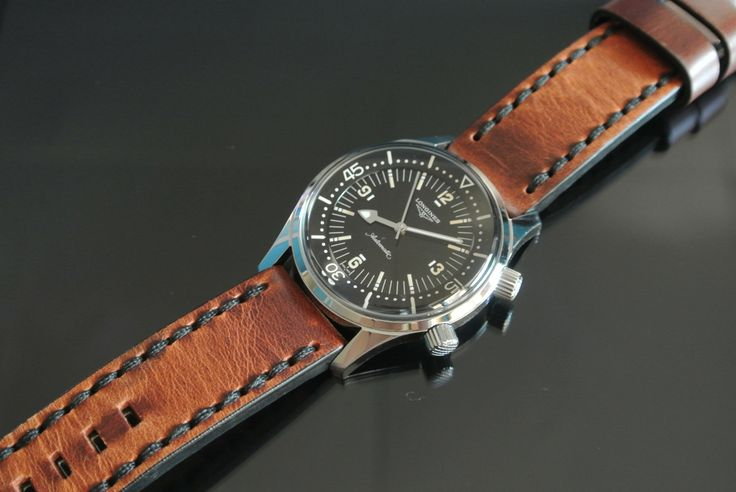 Longines legend diver brown leather strap watches pinterest d legends and ipad app for Longines leather strap