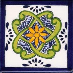 Talavera Tile Pubela DESIGN 1 DECO Mexican Ceramic Tile 4 1/4 x 4 1/4
