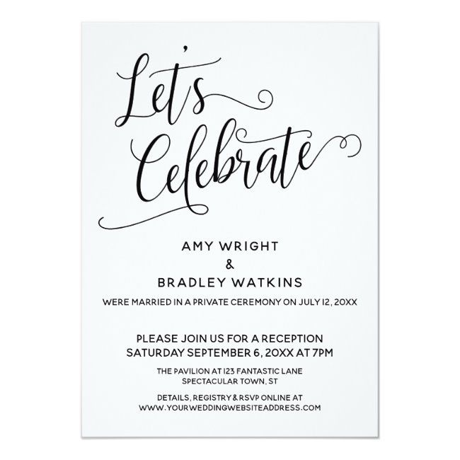 Let S Celebrate Elegant Post Wedding Reception Invitation Zazzle Com Wedding Reception Invitations Reception Invitations Reception Only Invitations