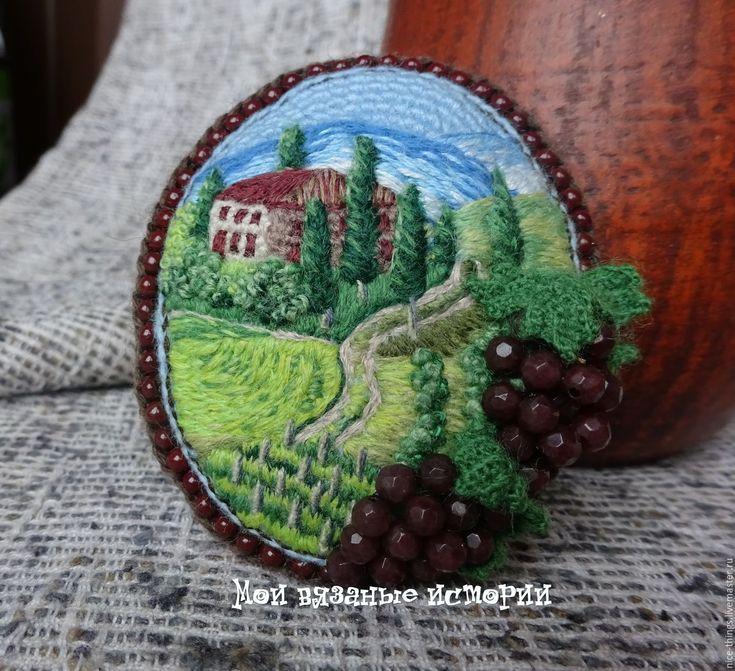 Купить Брошь вязаная вышитая Под солнцем Тосканы - зеленый, брошь вязаная вышитая, brooch