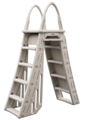Roll Guard Above Ground Pool A-Frame Safety Ladder ─ In the Swim http://www.intheswim.com/p/roll-guard-a-frame-safety-ladder
