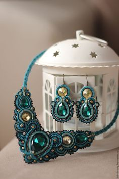 Teal and gold necklace and earrings set