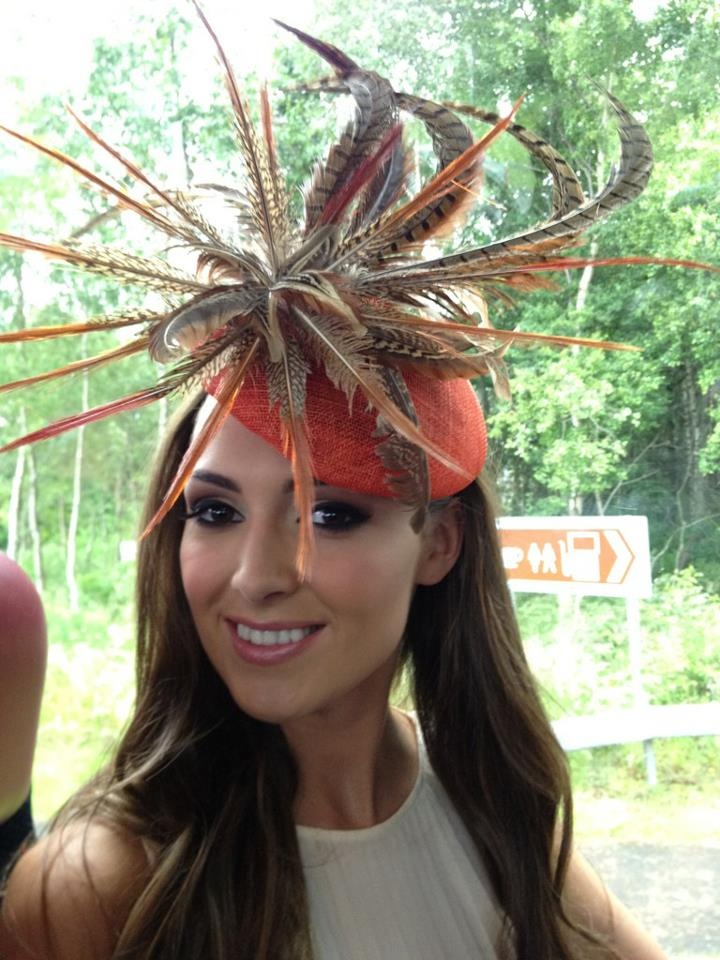 Miss Ireland Rebecca Maguire wearing a Suzie Mahony pheasant hat for the Derby at the Curragh Racecourse