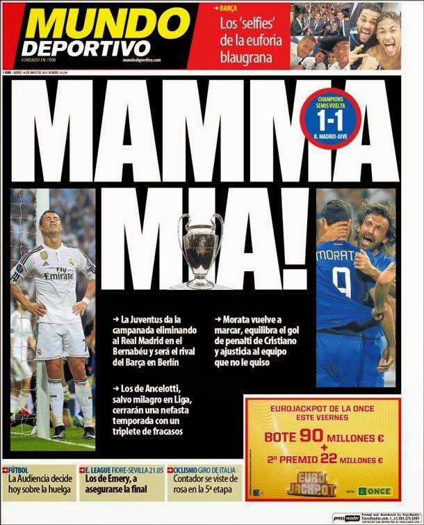 Portada del periódico Mundo Deportivo, jueves 14 de mayo de 2015.