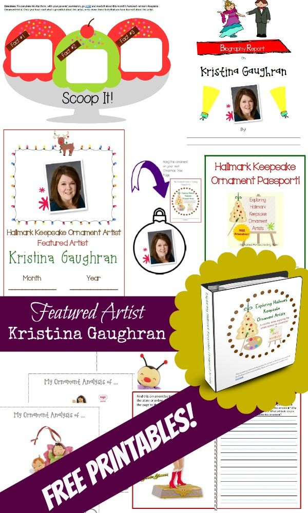 Are you ready for the next installment in the Exploring Hallmark Keepsake Ornament Artists FREE monthly series? Then let's learn about the creative talents of Kristina Gaughran in this month's featured Artist Pack! Come get your FREE artist lessons pack today and start learning about the style and techniques of this special Hallmark Keepsake Ornament Artist! #KeepsakeIt