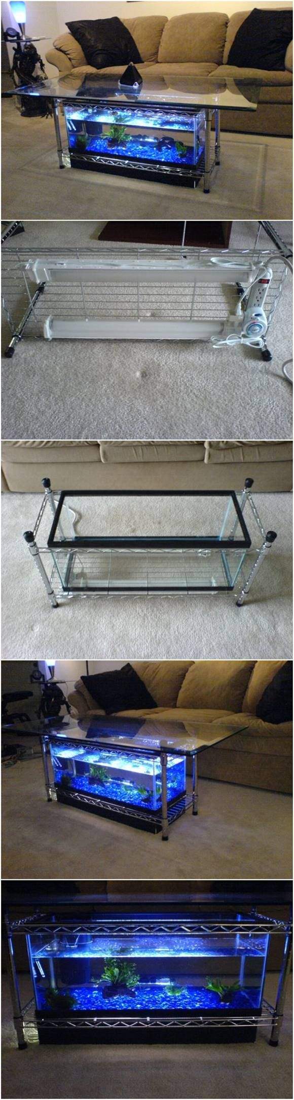 How to Make an Aquarium Coffee Table #furniture                                                                                                                                                                                 More