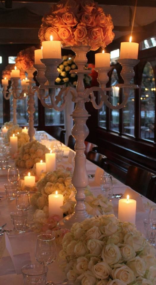pinterest wedding table decorations candles%0A Sweet Avalanche and Avalanche  by Meijer Roses styled for romantic wedding  diner   photo by