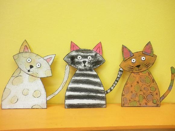 Kočky z kartonu (suchý pastel)