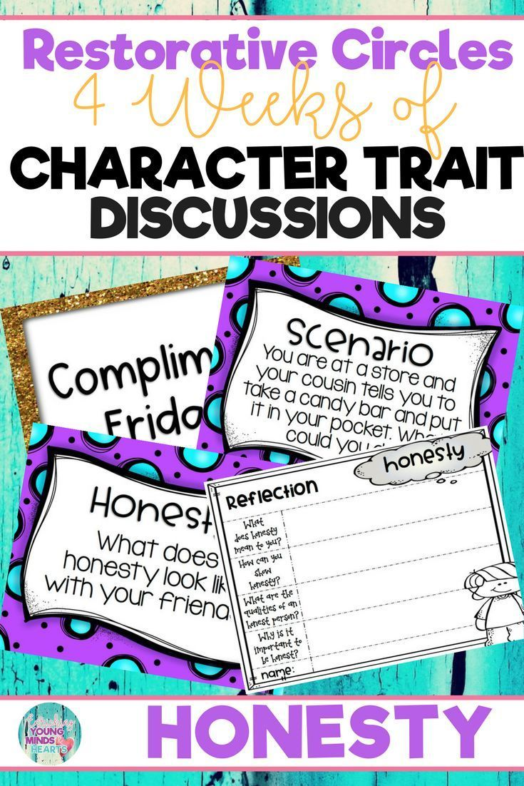 Conduct restorative circles in your classroom with these ready to use templates that are full of questions, discussion topics and ideas that can be used during circle time. This product stems around the character trait of honesty and includes discussion questions, scenarios and/or act it out activities. Click the link below to have your students listening, discussing and learning from each other! #restorativecircles #charactertraits #circletime  #charactereducation #classroomcommunity…