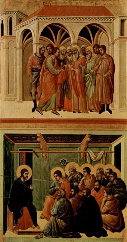Маэста, алтарь сиенского кафедрального собора, оборотная сторона, Регистр со сценами Страстей Христовых: Иуда и Прощание Христа
