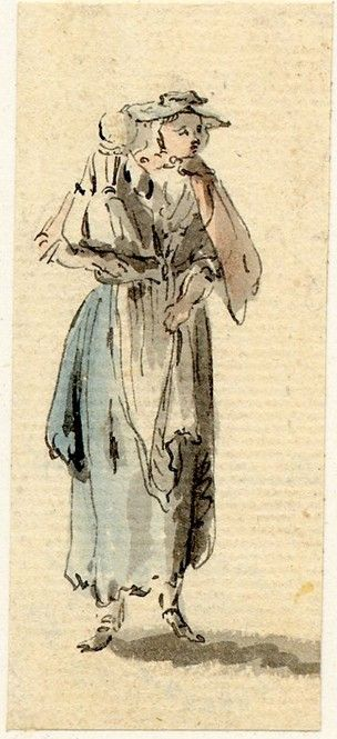 Paul Sandby: 71 pictures from years after 1745. A young woman carrying a child, one of the figure sketches made in Edinburgh and the neighbourhood after the rebellion of 1745 Pen and grey ...