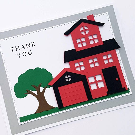 Red House Thank You Card Realtor Card Moving Day Thank You