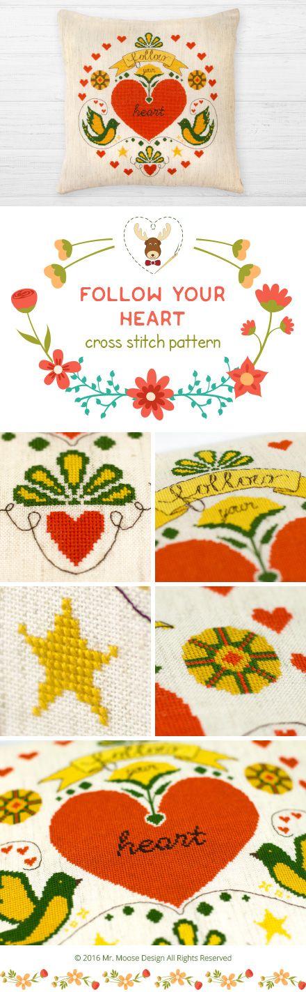 "Cross stitch pattern ""Follow your heart"", 4.99$  #crossstitchpattern #heart #pillow #bird #embroidery #crossstitch #mrmoosedesign"